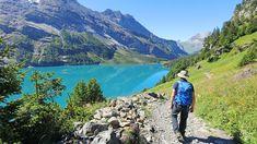 Ein Wanderer am Oeschinensee im Berner Oberland Switzerland, Hiking, Mountains, World, Nature, Travelling, Walking, Europe, Road Trip Destinations