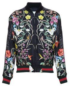 GUCCI Floral Printed Satin Bomber Jacket