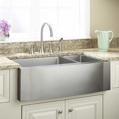 """33"""" Optimum 70/30 Offset Double-Bowl Stainless Steel Farmhouse Sink - Wave Front"""