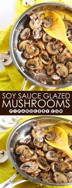 Soy Sauce Glazed Mushrooms | Easy, savory side dish that is PACKED with flavor!