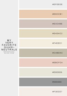 Neutral colours with Hex colour codes