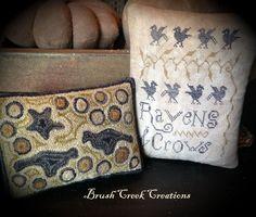 www.brushcreekcreations.blogspot.com.  Cross stitch design by Lori Brechlin.  Punchneedle design by Pat Cross.