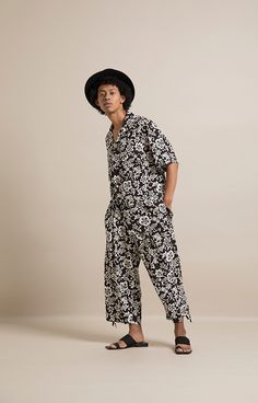 HOMME 2019 S/S 010, Hawaiian Pattern Rayon Crepe de chine Open-necked Shirt   ARC-B06-204, Hawaiian Pattern Rayon Crepe de chine Ankle Tied Easy Pants   ARC-P06-204 Arc, Jumpsuit, Dresses, Fashion, Dress, Overalls, Vestidos, Moda, La Mode