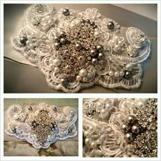 Silver double-faced wide satin ribbon, dozens of Swarovski crystals, silver & white glass pearls, rhinestone components & SW crystal 10mm flowers, sequins, white embroidery lace, gray felt...completely sewn by hand.