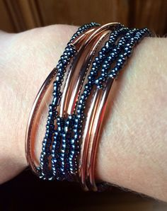 Rose Gold and Gunmetal Wrap Bracelet Beaded by JewelrybyRJ on Etsy