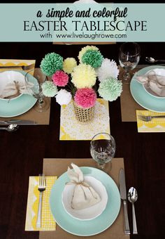 A simple and colorful Easter tablescape with livelaughrowe.com #easter #spring #tablescape