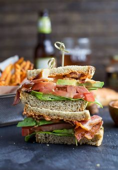 The Ultimate Avocado BLT slathered with a Harissa Mayo that takes this sandwich over the top... that and it's BACON and AVOCADO people! | joyfulhealthyeats.com