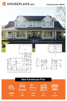 We are swooning over this new farmhouse plan! Check out the big front porch and large windows. If you're looking for exterior farmhouse ideas - you'll find them with this design. Questions? Call 1-800-913-2350 today. #blog #architecture #modern #bungalow #architect #architecture #buildingdesign #country #craftsman #houseplan #homeplan #house #home #homeblog Modern Farmhouse Plans, Farmhouse Ideas, Farmhouse Design, Farmhouse Style, Big Front Porches, Building Department, Modern Bungalow, Dream Decor, Large Windows