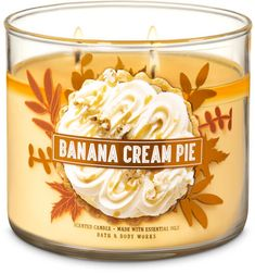 3 wick banana cream pie candle Fresh banana, whipped cream, peanut butter and Cookie crumbs Made with essential oils Bath Candles, Mini Candles, 3 Wick Candles, Scented Candles, Candle Jars, Bath N Body Works, Bath And Body Works Perfume, Candles For Sale, Smell Good