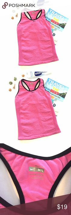 🆕 listing! Nike Fit Dry Tank Stay cool and dry in this very stretchy tank from Nike.  Hot pink with black trim.  Shelf bra.  Size M/L Nike Tops Tank Tops