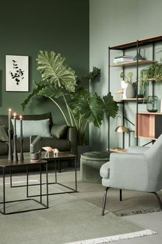 Living Room Green, Green Rooms, Home Living Room, Living Room Decor, Home Room Design, Living Room Designs, House Design, House Rooms, Home Decor Bedroom