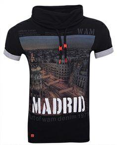 Wam Denim sjaalkraag shirt Madrid Zwart