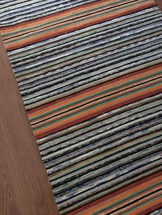 Excited to share this item from my shop: Orange Striped Long Scandinavian Runner Rug, made of cotton, recycled sheets, fabric leftovers. Target Area Rugs, Recycled Rugs, Painted Rug, Diy Carpet, Stair Carpet, Hall Carpet, Rug Texture, Cheap Rugs, Tejidos