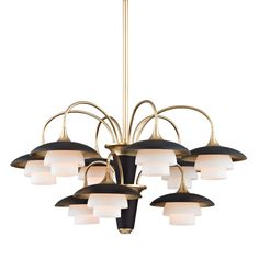 HUDSON VALLEY 1009-AGB - BARRON 9 LIGHT CHANDELIER, Aged Brass