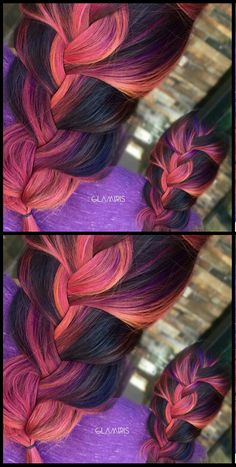 Ombre braided dyed hair color eyes, nails, hair - oh my! in 2019 Hot Hair Colors, Ombre Hair Color, Cool Hair Color, Bright Hair, Colorful Hair, Ombre Hair Extensions, Emo Hair, Dye My Hair, Girly