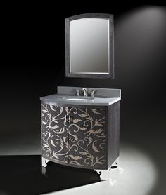 """The two-toned marquetry veneer and gray quartz top of the Clarendon 36"""" vanity.   #LuxePintoWin"""