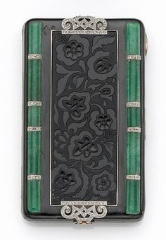 An art deco enamel, aventurine quartz, diamond, platinum and eighteen karat gold compact, France