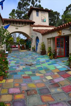 Beautiful handmade tiles in Spanish Village artists community. Balboa Park, San Diego. Love the glass art there http://KBArtGlass.com