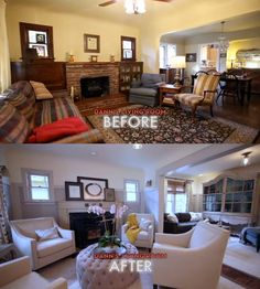Best Living Room Makeovers Before And After Dark Stained 400 x 300