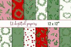 Christmas digital paper by MyLittleMeow on @creativemarket