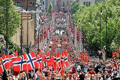 Norway's Constitution day May celebrated in Oslo with a childrens parade going down Karl Johan to the Royal Palace, where the royal family greets the children. - I remember being so excited to see the royal family waving down at us! Oslo, Norway In A Nutshell, 17 Mai, Cultures Du Monde, Constitution Day, Beautiful Norway, Lillehammer, Happy Birthday, Denmark