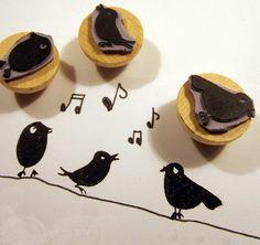 Idea for printmaking... each student creates their own bird... fun for a hallway bulletin board, or present for principal