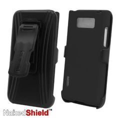 LG Optimus Showtime L86C L86G PRO Black Protector Case with KickStand BeltClip Holster   Naked Shield Invisible Screen Protector