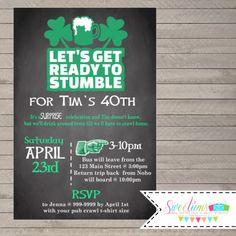 Let's Get Ready to Stumble Invitation, Pub Crawl party invitations