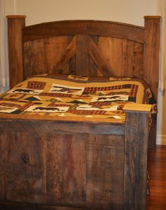 Barn Board Bed Frame with Posts - This beautiful bed frame with tall headboard and bold construction transforms any room into an ideal cottage retreat. Crafted from reclaimed barn lumber it features authentic character brought out with focal features such as the arched headboard, wide side rails, and beam posts.