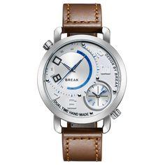 Breken Nieuwe Mannen Unieke Sport Style Dual Tijdzone Quartz Horloges Top Lederen Band Waterdicht Mode Horloges Voor Jongen in  GRATIS VERZENDING!    voorVERENIGDE STATEN gebruiken we EPACKETschip de product vrij, die sneller en veiliger.    klant van quartz horloges op AliExpress.com | Alibaba Groep