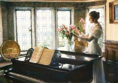 Flower Arrangement by Sandra Kuck has a lady place a vase of flowers on her baby grande piano Laura Lee, Flowers To Go, Piano Art, Piano Room, Limited Edition Prints, Art Music, American Artists, Flower Arrangements, Reflection