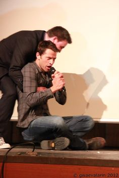 This is Misha. Being dragged off the stage of his own panel because he didn't want to leave.