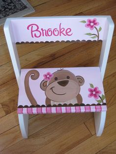 personalized chair step flip stool happy pink monkey... purple for Brennan