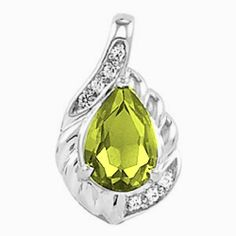 Platinum Pear Cut Peridot and Diamond Pendant Gems-is-Me. $1007.59. FREE PRIORITY SHIPPING. This item will be gift wrapped in a beautiful gift bag. In addition, a 'gift message' can be added.