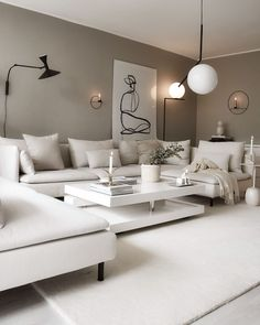 White Couch Living Room, Accent Walls In Living Room, Ikea Living Room, Modern White Living Room, Home Room Design, Living Room Designs, Ikea Lounge, Söderhamn Sofa, Couches