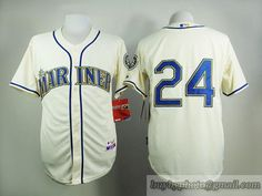 MLB Seattle Mariners #24 Ken Griffey Jr Cream Alternate Beige Jersey