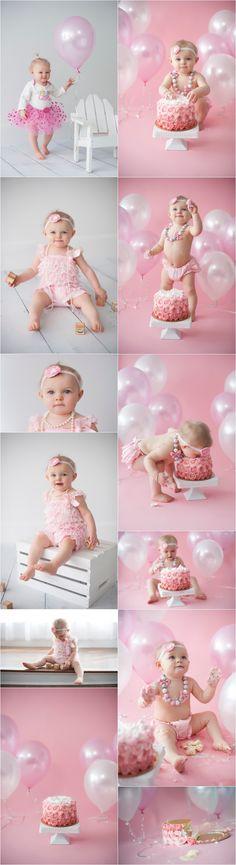 #firstbirthday #cakesmash #portrait #pink #girl #balloons ©megan belanger photography