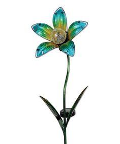 Love this Blue Solar Flower Garden Stake on #zulily! #zulilyfinds