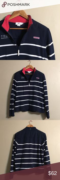 Vineyard Vines Newport Navy & White 3/4 Zip Up Vineyard Vines Newport Navy & White 3/4 Zip Up - Size XL. In great condition and perfect for those brisk fall days and nights! Only worn a few times. Looks ADORABLE with jeans or chinos! Vineyard Vines Sweaters V-Necks