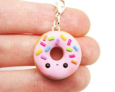 Kawaii Donut Charm, Doughnut Charm, Kawaii Charms Clay, Kawaii Clay Charms, Polymer Clay Charms, Kawaii Stitch Markers, Kawaii Food Jewelry