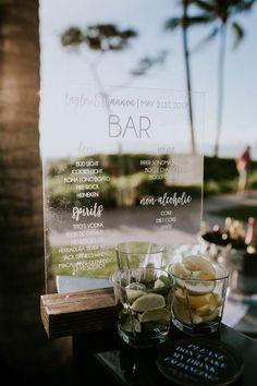 Acrylic Wedding Bar Menu Sign from Rich Design Co
