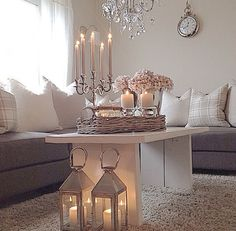 Scandinavian design for a comfortable family room. Love the candlelight, but not for families. Get the same look with Mirage moving flame LED candles. Living Room Decor, Living Spaces, Meditation Space, Lanterns Decor, Interior Decorating, Interior Design, Decoration, Home And Living, Family Room
