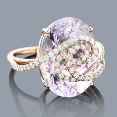 Unique Diamond Fashion Rings Gold Amethyst Diamond Ring