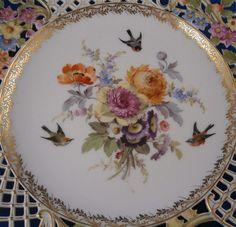 Antique 19thC Meissen Porcelain Reticulated Plate Count Bruehl Porzellan Teller #MeissenGermanGermany