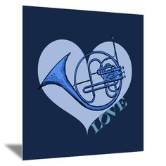 The Blue French Horn Wall Art Mounted Print