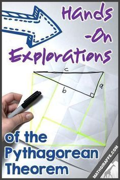 Hands-On Explorations, Activities, & Ideas for Pythagorean Theorem. Folder Paper Proof is the best! Teaching Geometry, Geometry Activities, Teaching Math, Math Activities, Math Resources, Math Teacher, Teaching Ideas, School Resources, Teacher Stuff
