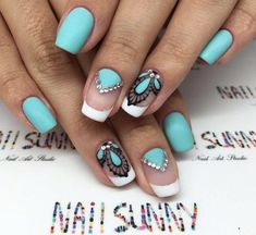 Fashion nails French nails with stones, Fresh nails, Mint nails, Nails… Supernatural Sty Nail Art Design Gallery, Best Nail Art Designs, Mint Nails, Blue Nails, Nails Turquoise, Color Nails, Orange Nails, Nail Colors, French Nails