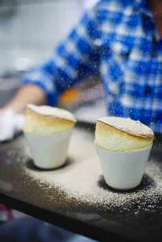 Milk tart souffle - A delicious hybrid of two most loved desserts, this recipe is definitely a winner. Try this milk tart souffle for something a little different. Souffle Recipes, Tart Recipes, Pudding Desserts, Dessert Recipes, Pudding Cupcakes, Bakery Recipes, Gourmet Recipes, Milk Tart, Roasted Chicken Breast