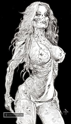 YAY! It's Friday! And what better way to celebrate than by coming by Zombie Daily, and checking out the New Zombie Art! A brand New Zombie Pinup Diva awaits you