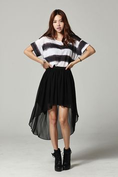 Simple stripes and black ethereal skirt